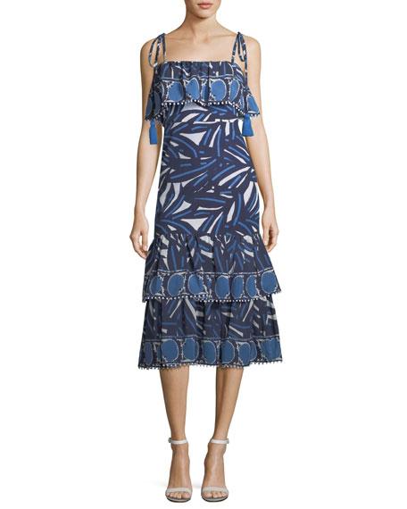 Faretta Square-Neck Mixed-Print Cotton Midi Dress