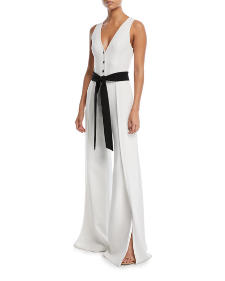 Moe V-Neck Button-Front Sleeveless Wide-Leg Crepe Jumpsuit, Off White