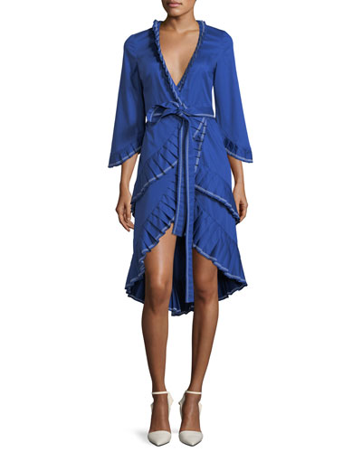 Hallie Wrap-Front Cotton Dress with Pleating Detail
