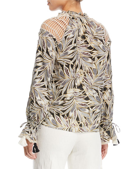 Seila Split-Neck Long-Sleeve Palm-Print Top