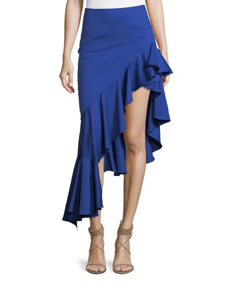 Cameo Asymmetric Ruffle High-Low Cotton Skirt
