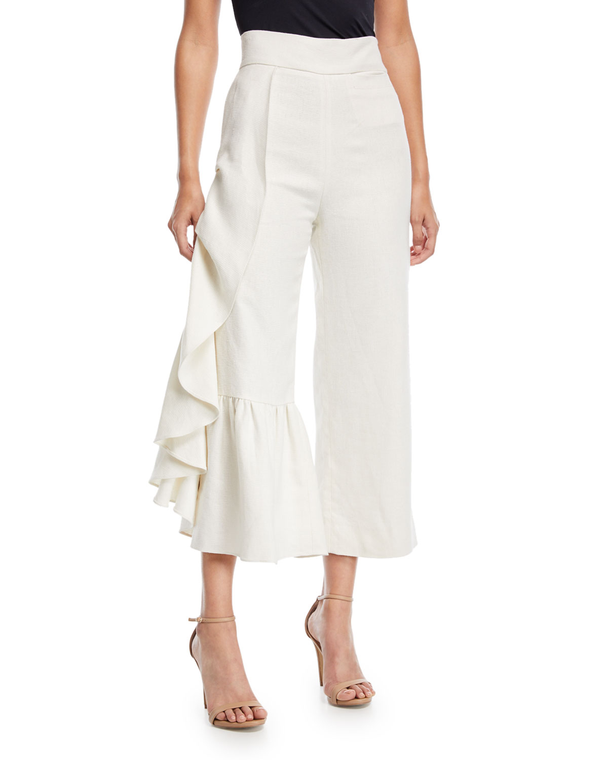 Alexis Lainey Wide Leg Linen Pants With Ruffled Frill