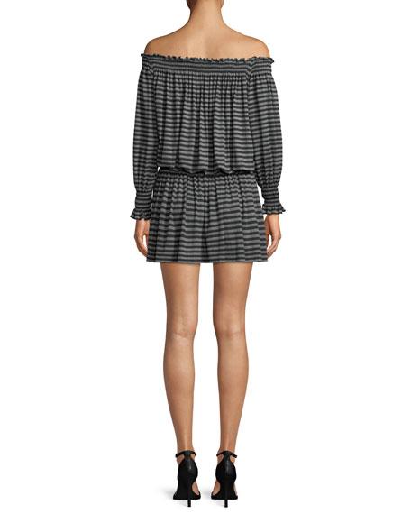 Striped Cotton-Blend Peasant Cocktail Dress
