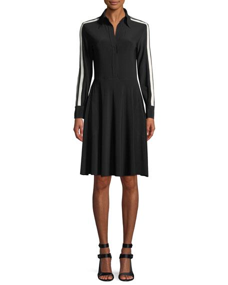 Norma Kamali Side-Stripe Long-Sleeve Shirt Dress