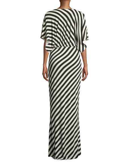 Rectangle Plunging-Neck Short-Sleeve Gown