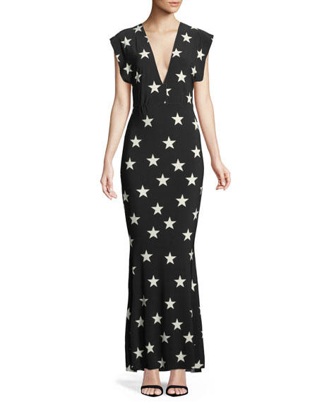 Plunging Short-Sleeve Star Gown