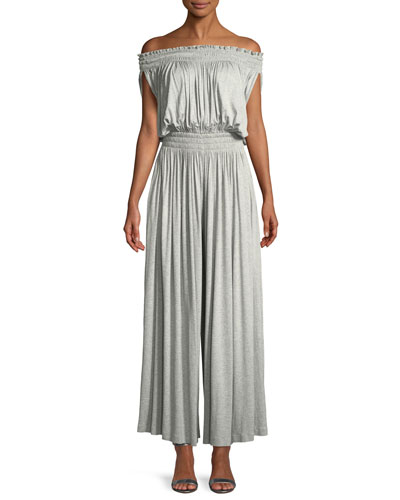 Peasant Off-the-Shoulder Wide-Leg Jumpsuit