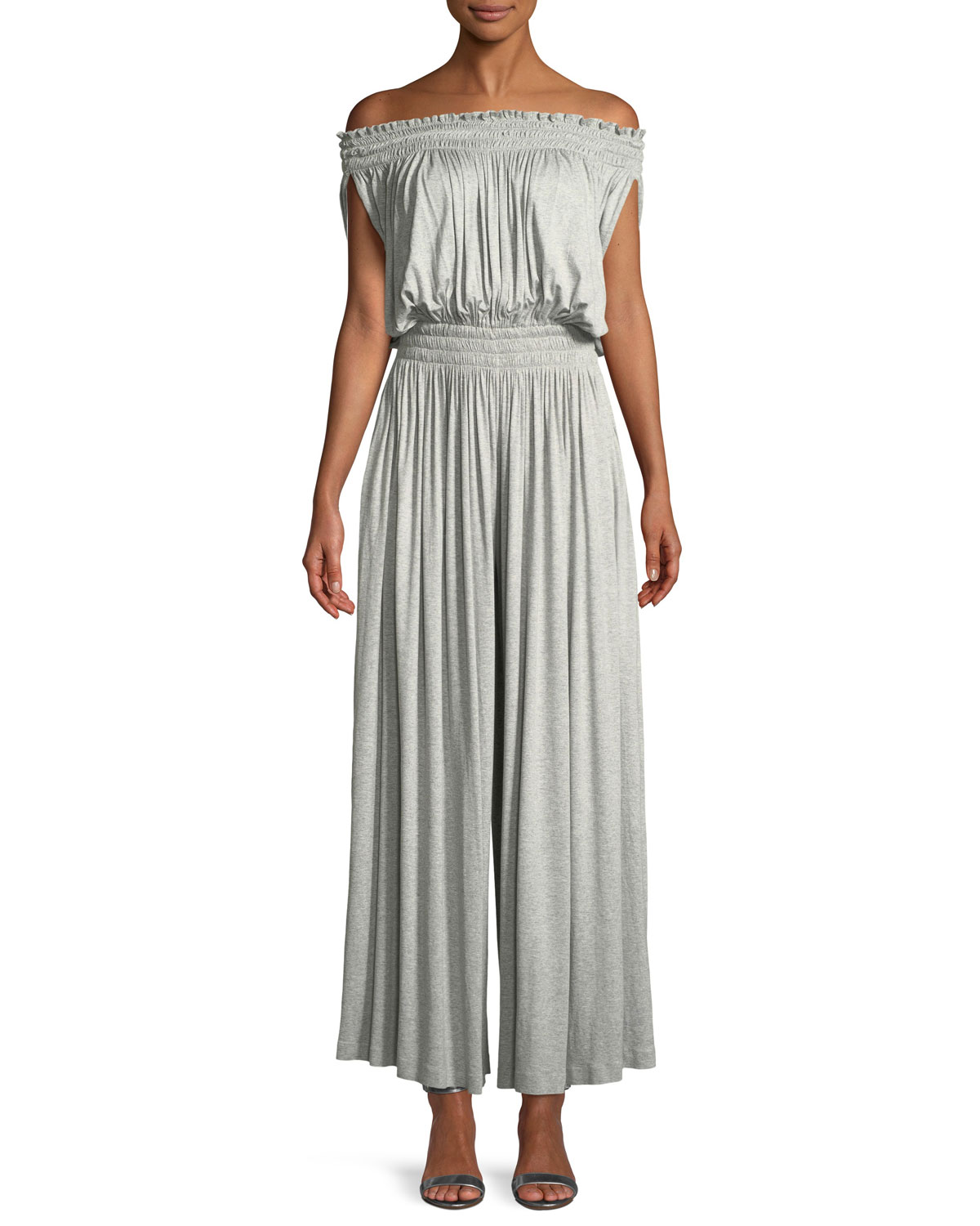 afe14af4b8ca Norma Kamali Peasant Off-the-Shoulder Wide-Leg Jumpsuit