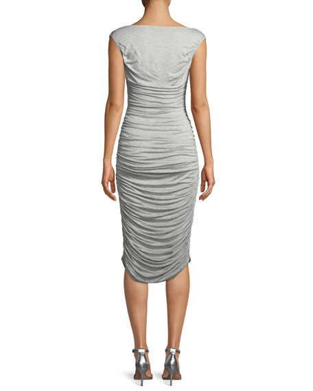 Tara Ruched Sleeveless V-Neck Cocktail Dress