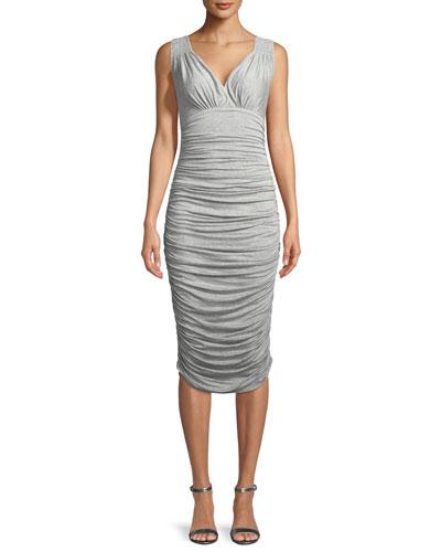 Tara Ruched Sleeveless V-Neck Dress