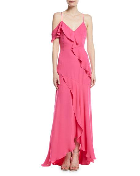Parker Black Emilia Asymmetric Ruffle High-Low Gown