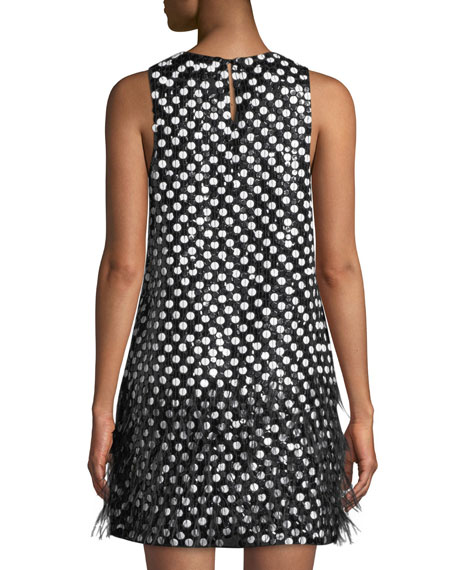 Allegra Dot Mini Dress w/ Feather Hem