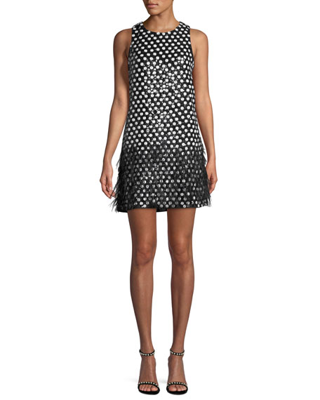 Parker Black Allegra Dot Mini Dress w/ Feather