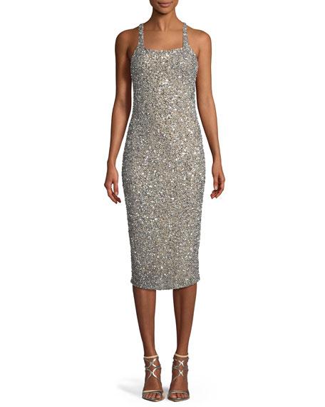 Sage Beaded Slip Crisscross Cocktail Dress