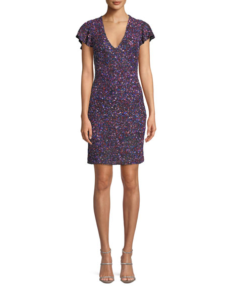 Audry V-Neck Metallic Beaded Mini Cocktail Dress