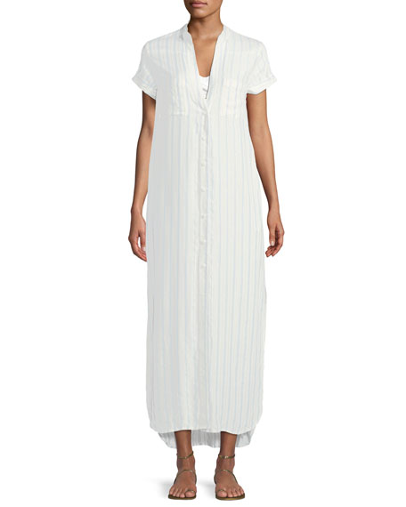 Onia Kim Button-Front Striped Coverup Maxi Dress