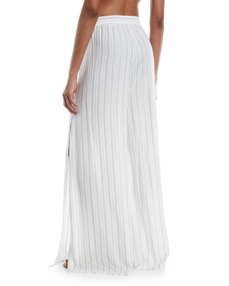 Chloe Wide-Leg Side-Slit Striped Coverup Pants