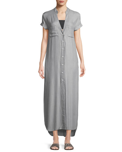 Kim Button-Front Coverup Maxi Dress