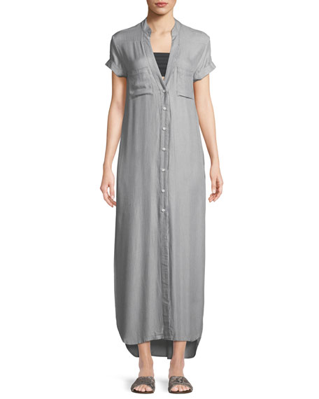 Onia Kim Button-Front Coverup Maxi Dress
