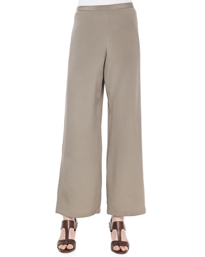 Silk Wide-Leg Pants, Petite