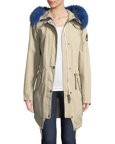 Mainville Canvas Parka Jacket w/ Removable Fur Trim