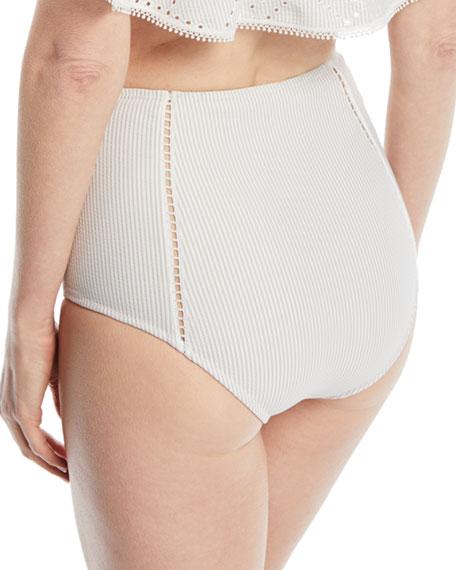 High-Waist Seersucker Bikini Swim Bikini Bottoms