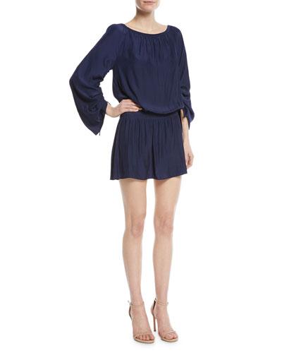 Johanna Round-Neck Long-Sleeve Short Dress