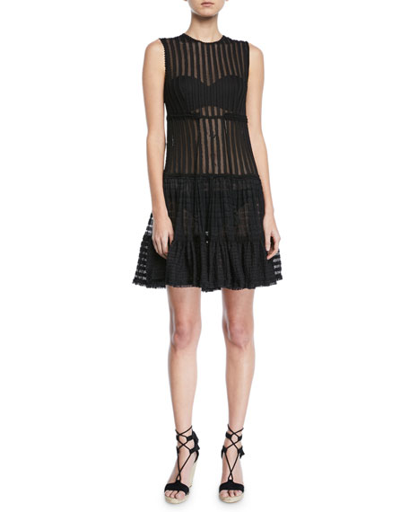 Jonathan Simkhai Sleeveless Knit Combo Fit-and-Flare Dress