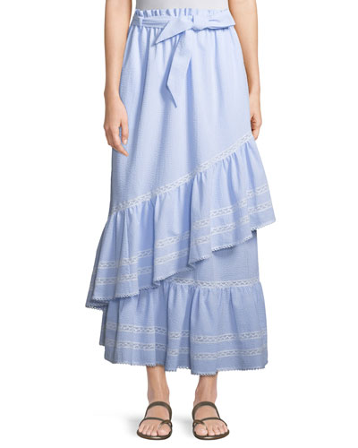 Long Striped Seersucker Ruffled Skirt