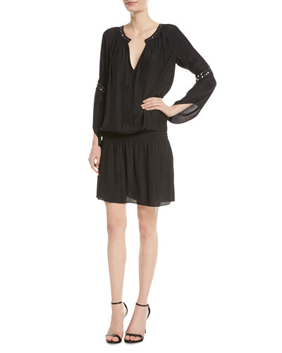 Aubree V-Neck Long-Sleeve Dress w/ Studded Trim