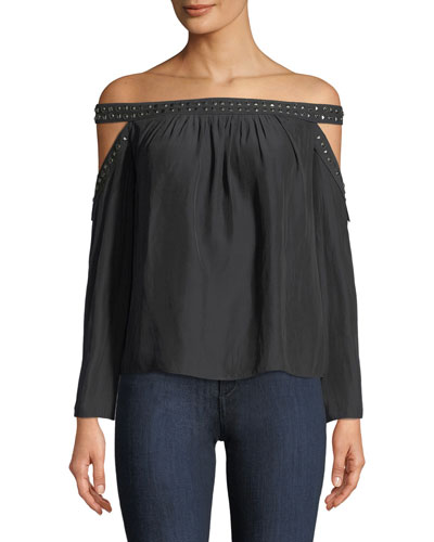Kendra Off-the-Shoulder Long-Sleeve Studded Top