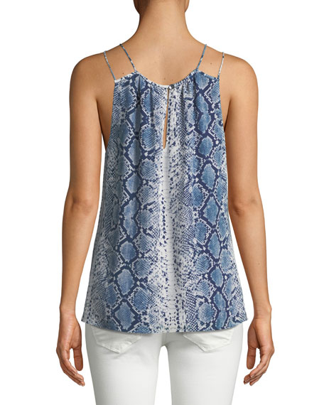 Sleeveless Snake-Print Silk Top