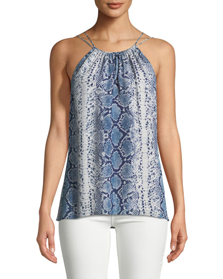 Ramy Brook Sleeveless Snake-Print Silk Top