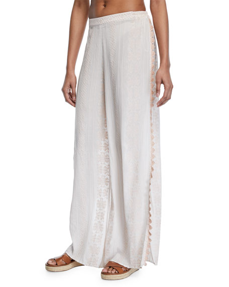 Jonathan Simkhai Embroidered Voile Side-Slit Coverup Pants