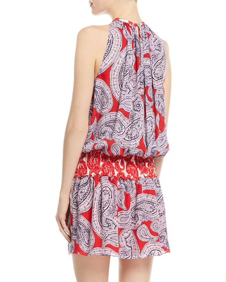 Mia High-Neck Sleeveless Paisley-Print Silk Dress