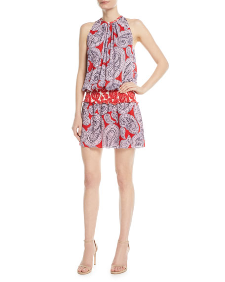 Ramy Brook Mia High-Neck Sleeveless Paisley-Print Silk Dress