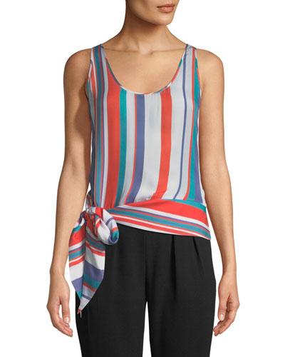 Kris Scoop-Neck Tie-Waist Striped Silk Top