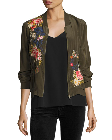 Johnny Was Lucy Crepe de Chine Bomber Jacket,