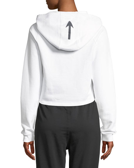 Holly Cropped Fleece Logo-Print Hoodie