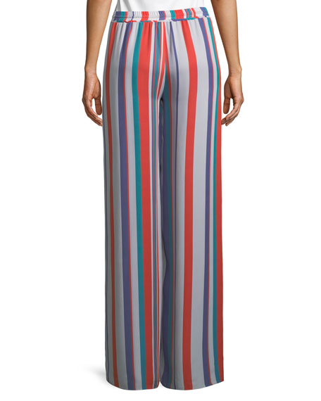 Dorota Wide-Leg Striped Silk Pull-On Pants