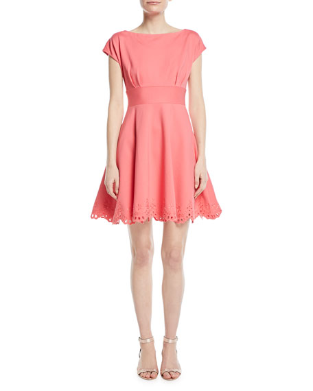 kate spade new york cutwork fiorella eyelet-trim dress