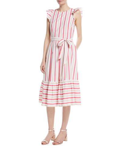 stripe poplin cap-sleeve midi dress