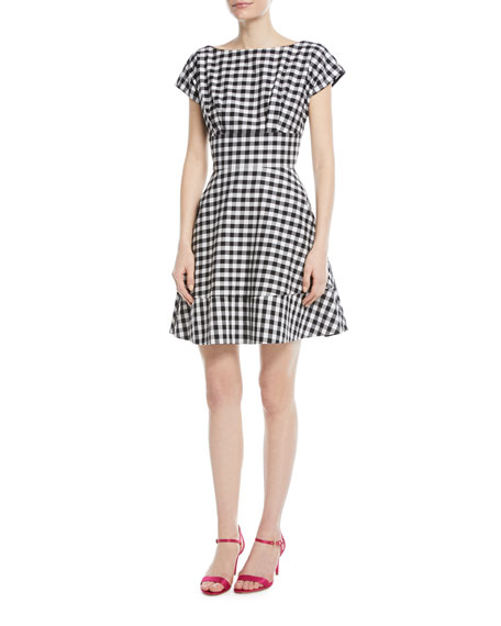 gingham fiorella fit-&-flare dress