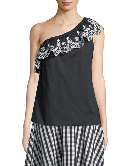 cutwork one-shoulder cotton top