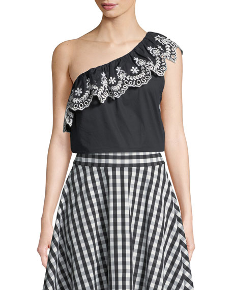 kate spade new york cutwork one-shoulder cotton top