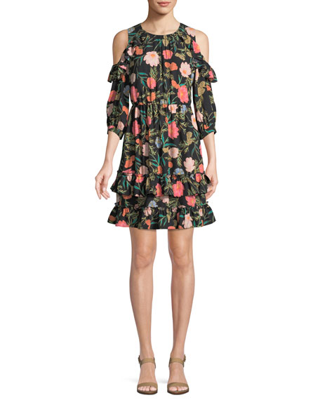 kate spade new york blossom cold-shoulder mini dress