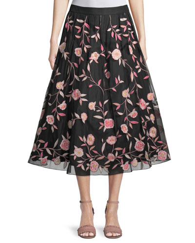 nancie floral tea-length skirt