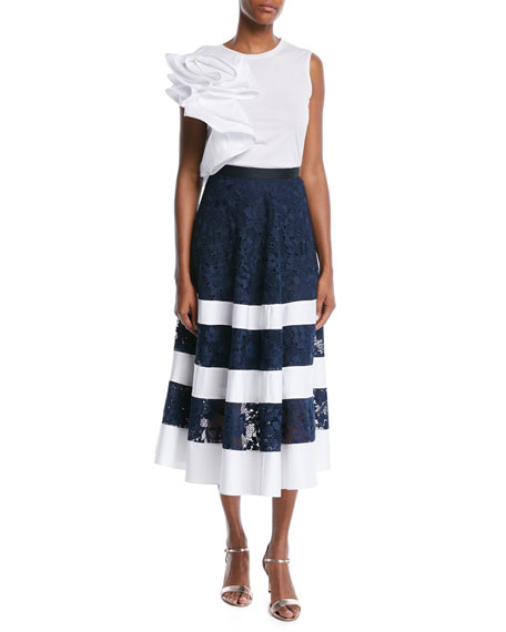 Banded Lace Combo Midi Skirt