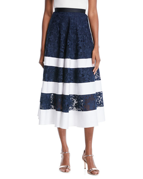 Badgley Mischka Collection Banded Lace Combo Midi Skirt