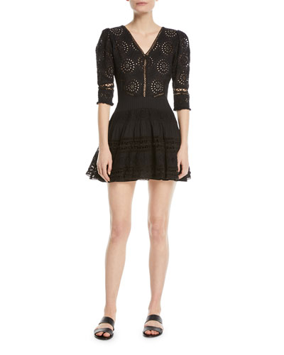 Paige V-Neck 3/4-Sleeves Broderie Anglaise Cotton Mini Dress